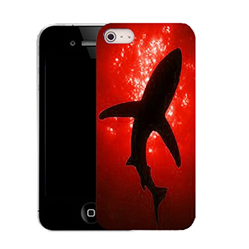 Mobile Case Mate IPhone 4 4S clip on Dur Coque couverture case cover avec Stylet - RED SHADOW SHARK Motif