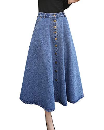 Azzurro Alta Gonna Pieghe Donne Laozana Jeans Gonne Di A Monopetto Eleganti Vita hCQrtsd