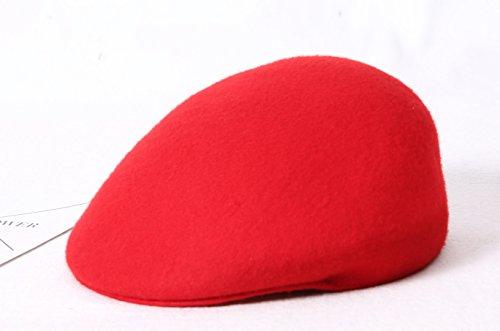 Queenestar Australian Wool Beret Hat Cap For Women Plain Winter Warm Beret Caps (Red) by Queenestar (Image #5)