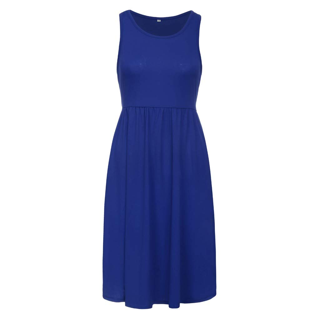 Opinionated Womens Sleeveless Dress Pockets Casual Swing T-Shirt Dresses Solid Color Plus Size Dress