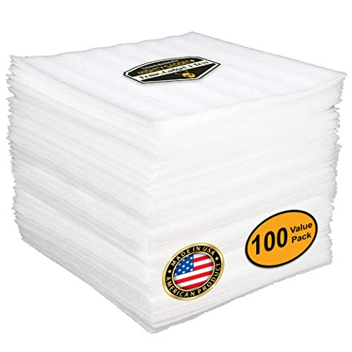 "100 Value Pack of Mighty Gadget (R) 12"" x 12"" Foam Sheets Cushion for Moving Storage Packing Shipping Supplies Safely Wrap Dishes Plates Glasses Furniture Legs Edges Fragile Item Table China (White)"