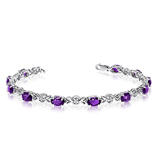 14K White Gold Oval Amethyst and Diamond Bracelet (6 Inch Length)
