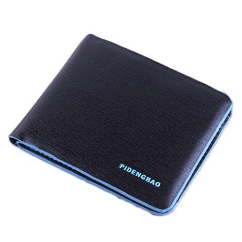 Bi Fold Striped Wallet (Wallet,toraway Business Striped Short Section Billfold Leather Wallet Credit Card Men Purse Clutch Bags Bifold (Black+Blue))