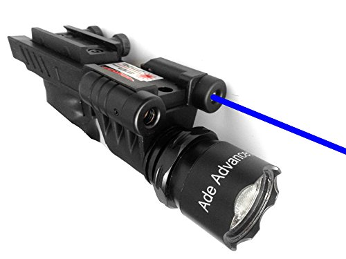 [Ade Advanced Optics 650 lm Dual Strobe Flashlight with Blue Laser Combo Sight] (Strobe Blue Lens)
