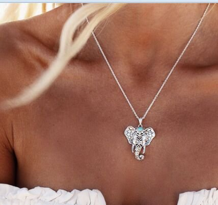 Buy stone elephant necklace