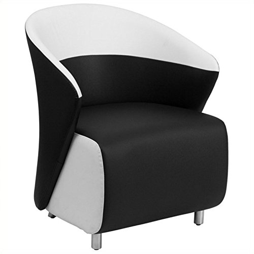 Flash Furniture Black Leather Lounge Chair with Melrose White ()