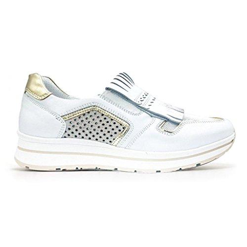 2018 Bianco Giardini Donna Primavera P805240D bianco Sneakers Scarpe Savana o Estate Beige in Nero Pelle SYOqY