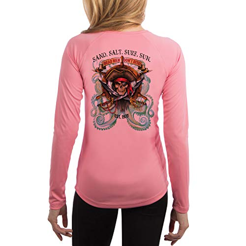 (SAND.SALT.SURF.SUN. Pirate Octopus Women's UPF 50+ Long Sleeve T-Shirt X-Small Pretty Pink)