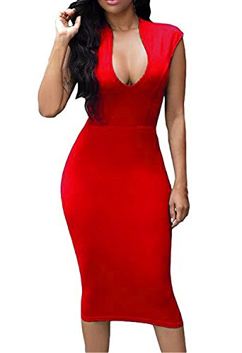 Wow Prom Gowns - HUUSA Womens Low V Neck Sleeveless Bodycon Cocktail Party Midi Dress (Medium, Wine Red)
