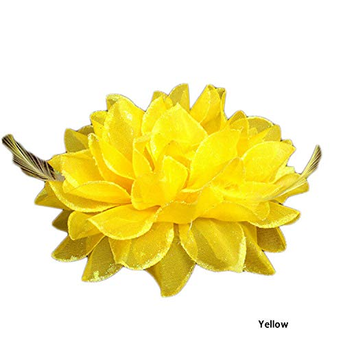 - Ladies Girls Large Rose Flower Hair Wedding Party Clip/Brooch/Fanscinator Deco (Colour - Yellow)