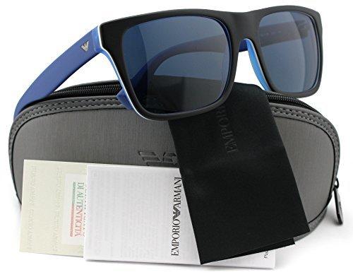 Emporio Armani Sunglasses Model (Emporio Armani EA4048 Sunglasses Top Black/Matte Blue w/Crystal Blue (5392/80) EA 4048 539280 56mm)