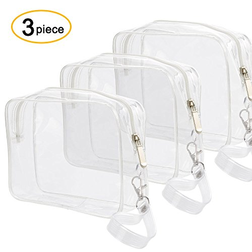 Ariza Toiletry Bag Clear Makeup Travel Airline Compliant TSA Approved 3-1-1 Organizer Storage Zipper Waterproof Cosmetic Bag Carry Plastic Pouch with Detachable Handle Strap (3 (Transparent Pouch)