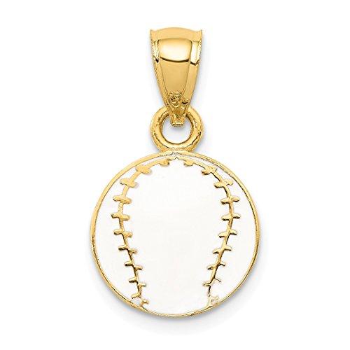 14k Yellow Gold Enameled Baseball Pendant Charm Necklace Sport Baseball/softball Fine Jewelry Gifts For Women For Her