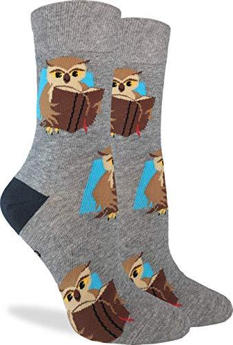 Good Luck Sock Women's Book Owl Socks - Grey, Adult Shoe Size 5-9 ()
