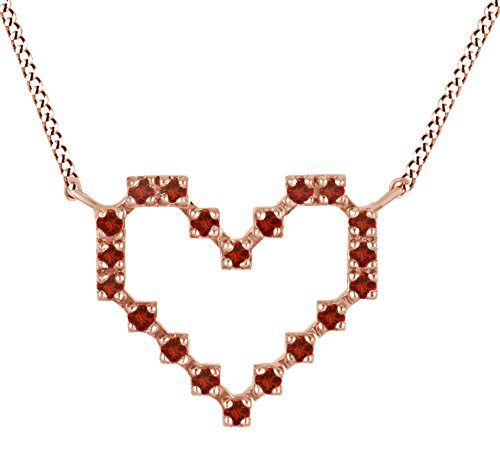 Round Shape Simulated Garnet Pixel Heart Pendant In 14K Rose Gold Over Sterling (Gold Round Garnet Heart)
