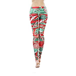 Women Leggings - Sunzel Women's Digital Print Ankle Length Footless Design Leggings Christmas Lollipops Medium