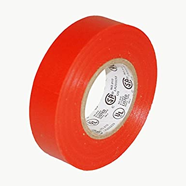 "JVCC E-Tape Colored Electrical Tape, 66' Length x 3/4"" Width, Red"