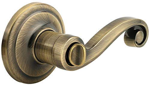 Kwikset 730LL 5 RCAL RCS Signature Series Lido Privacy Door Lever Set, Antique Brass