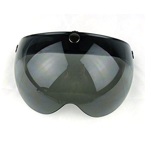 Motorcycle Retro Pilot-Style Open Face Helmet Wind Shield 3 Snap-Button Visor Flip Up Down(Dark Smoke) -