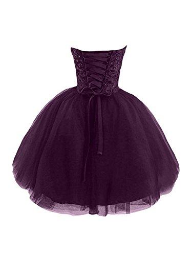 de Fonc Robe Violet de A Robe Robe fte de d'honneur Ligne Bal Demoiselle Cocktail Tulle de Court Robe UPqIaTqw