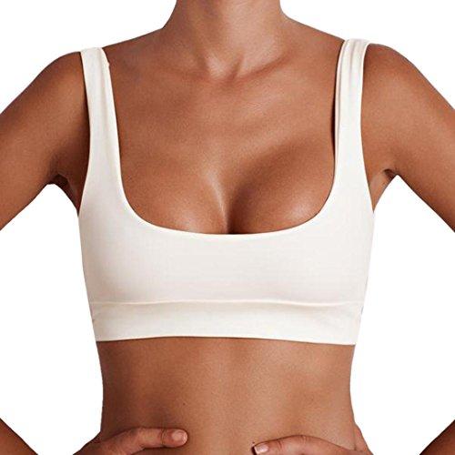 Women's Vest, jinjiu Summer Sleeveless Short Tank Tops Fashion Sports Blouse (S, White)