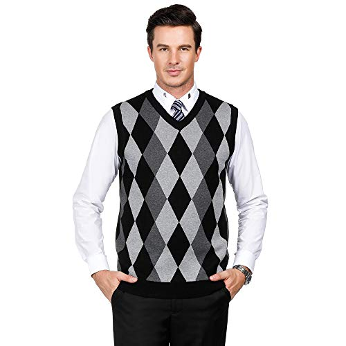PJ PAUL JONES Men's Cashmere Wool Blend Relax Fit Vest Soft Knit V-Neck Sweater (L,Black)
