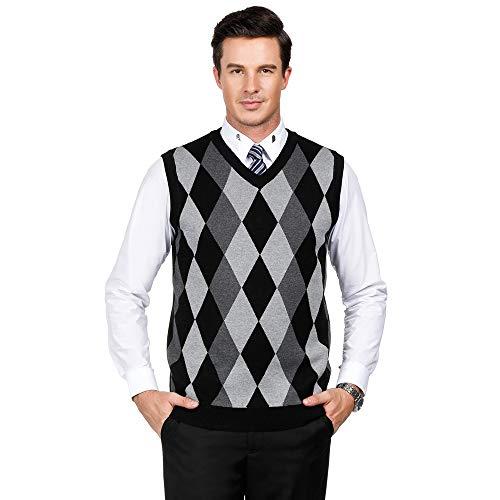 - PJ PAUL JONES Men Cashmere Wool Blend Relax Fit Vest V-Neck Sweater (L,Black)