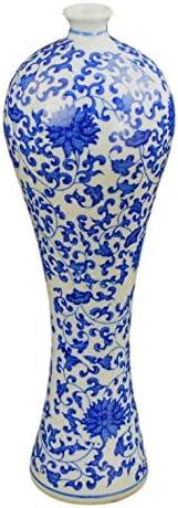 Festcool Blue and White Floral Porcelain Vase, China Vase, Decorative Vase, Jingdezhen,12.5