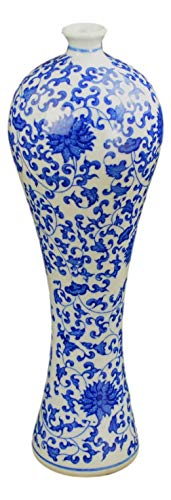 Festcool Blue and White Floral Porcelain Vase, China Vase, Decorative Vase, Jingdezhen,12.5