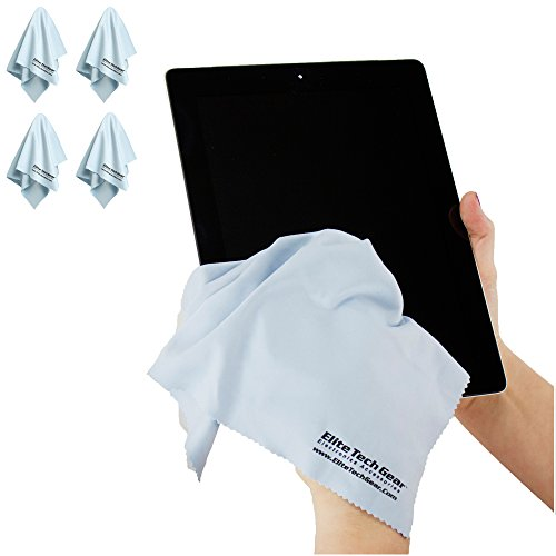 "(4-Pack ""OVERSIZED"") The Most Amazing Microfiber Cleaning Cloths - Perfect As Cell Phone, Tablet, Camera Lens, Eyeglasses, Computer, Monitor, Laptop Screens, Video, Projector, Binocular, Telescope, Headphone, CLEANERS - A Must Have As a Digital Cleaning A"