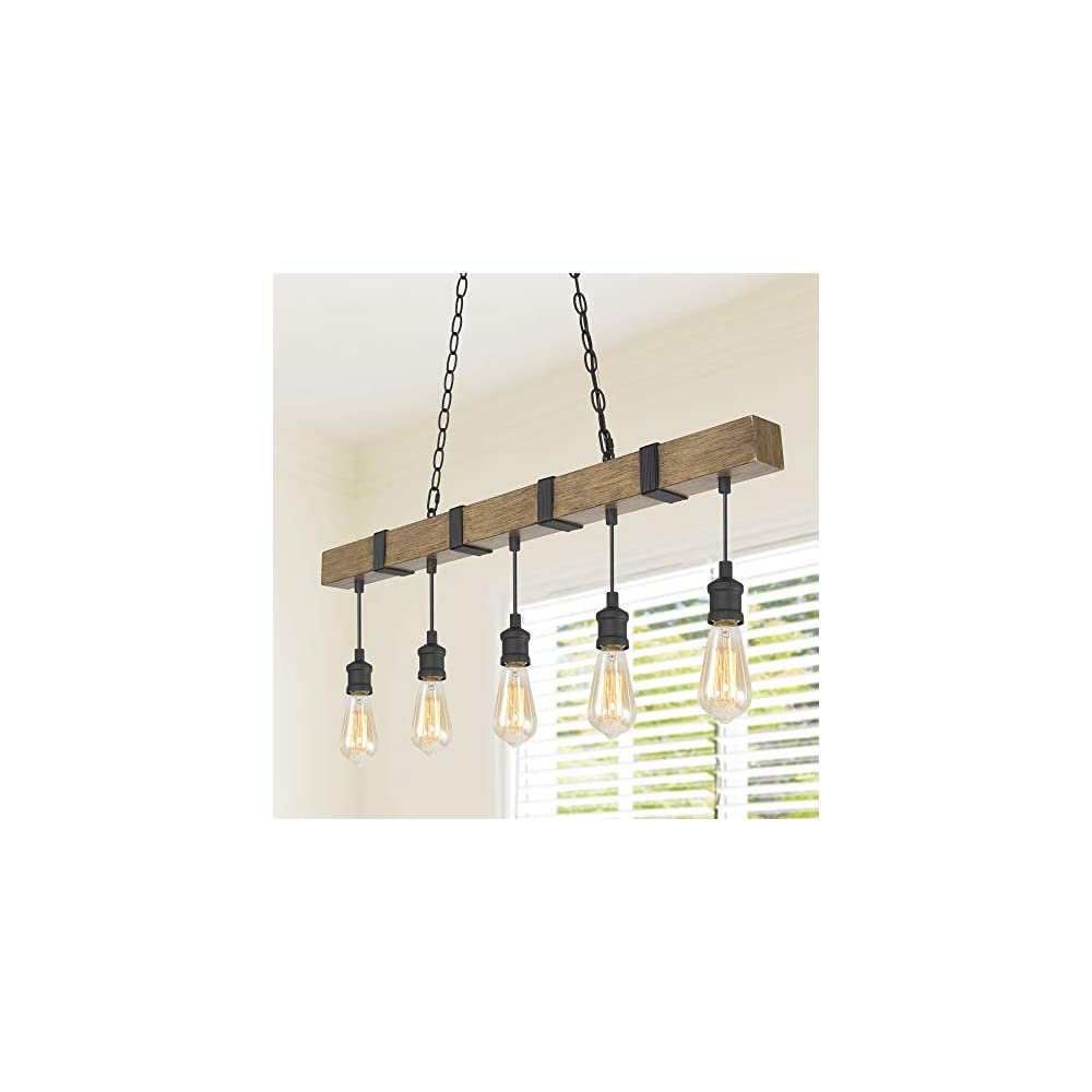 LOG BARN Kitchen Light Fixtures, Farmhouse Chandelier for Kitchen Island in Rustic Faux Wood with Black Wires, 5-Light…