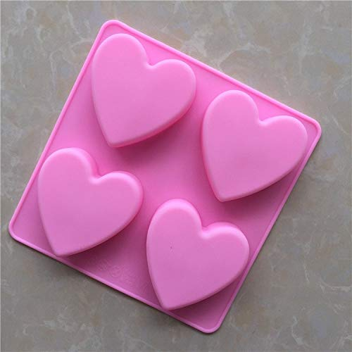 1 piece 4 even heart shaped handmade soap mold silicone mold love shape Cake decorating tools ()