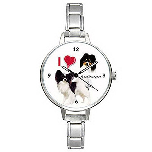 Spaniel Italian Charm Watch - BMTC305 I Love Papillon Continental Toy Spaniel Mens Ladies Italian Charm Watch