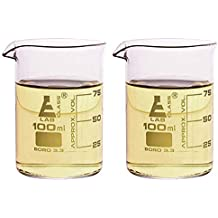 Beaker Double Shot Glasses - 3.3oz/100mL - Lab Quality Borosilicate Glass - Set of 2