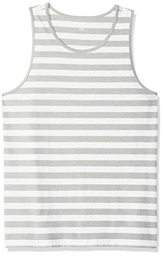 - Amazon Essentials Men's Slim-Fit Ringer Tank Top, Light Gray Heather/White Stripe, Large