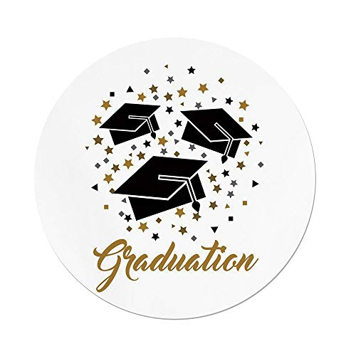 Polyester Round Tablecloth,Graduation Decor,Academy Achievement Bachelor Theme Thrown Caps Tassels Vibrant Stars,Gold Black Grey,Dining Room Kitchen Picnic Table Cloth Cover,for Outdoor Indoor -