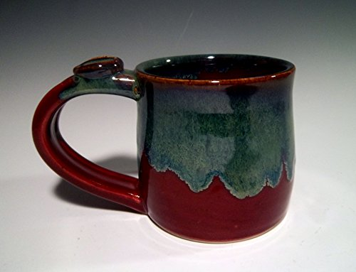 Handmade Stoneware Ceramic Pottery Tea Coffee Mug Cup – Bright Red with Blue Green Swirl