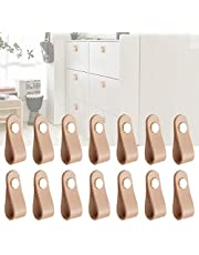 TXIN 14 PCS Cabinet Handle Genuine Leather Drawer Pulls Door Knob, Modern Drawer Knob Pull Handle Strap with Screw, Leather Pulls for Dresser Drawers Wardrobe Furniture Closet Cabinet Suitcase Khaki