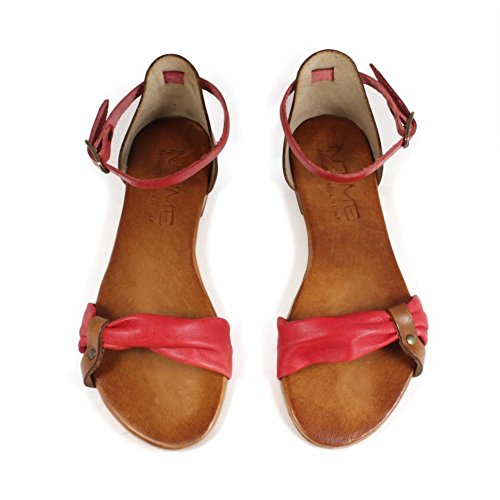 In 0410 Italy Rosso Flat Vera Made Time Donna Sandali Cuoio Bassi Pelle rwrq7g