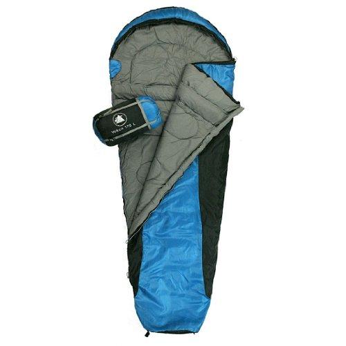 10T Yukon 175L - Einzel Mumien-Schlafsack 215x85/55cm schwarz/blau Trekking nur 1400g bis -5°C