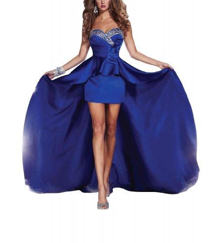 Herz BRIDE GEORGE charmante Ballkleid Perlstickerei Ausschnitt Blau Hoch niedrige pEHaaw