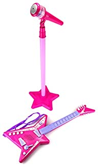 Rock Princess Children's Kid's Toy Stand Up Microphone & Guitar Play Set w/ Microphones,…
