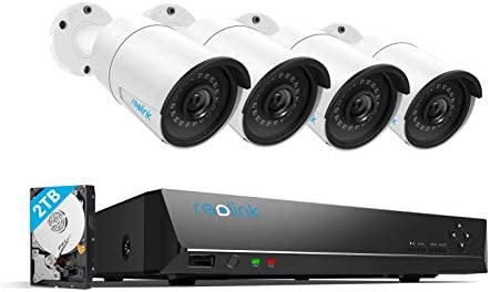 Reolink 4MP 8CH PoE Video Surveillance System, 4pcs Wired Outdoor 1440P PoE IP Cameras, 8MP 5MP 4MP Supported 8 Channel NVR Security System with 2TB HDD for twenty-four/7 Recording RLK8-410B4