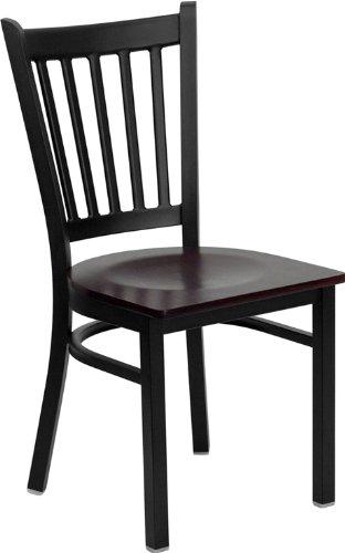 Flash Furniture 4 Pk. HERCULES Series Black Vertical Back Metal Restaurant Chair - Mahogany Wood Seat