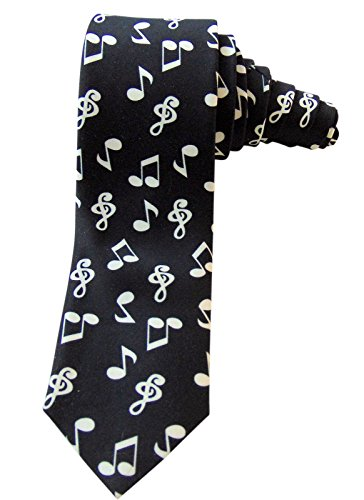 Men's Music Note Musicians Necktie Satin Tie for Formal Wear