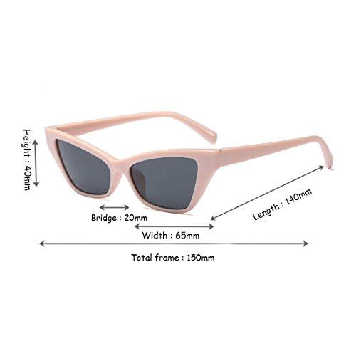 Rosa de pequeño sol vintage sol Gafas de Gafas elegantes de de Gafas retro sol estilo Yefree marco de Gris qw1STIw8