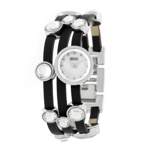 badgley-mischka-womens-ba1181mpbk-swarovski-crystals-silver-tone-and-black-leather-bracelet-watch
