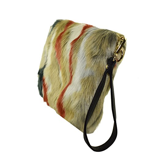Mogor Women's Faux Handbag 2 Clutch Multi Color Purse Fur 77adx6rn