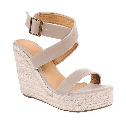 Ivay Women's Open Toe Strappy Platform Summer High Heel Slingback Espadrille Wedge Sandals Shoes Nude