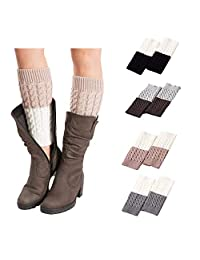 Jiuhexu 4 Pairs Women Winter Warm Crochet Knitted Boot Cuff Socks Short Leg Warmers